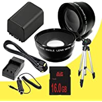 NP-FV100 Lithium Ion Replacement Battery w/Charger + 16GB SDHC Memory Card + Mini HDMI + Tripod + 67MM Wide Angle/Telphoto Lenses for Sony NEXVG10, NEXVG20 Interchangeable Lens HD Handycam Camcorder DavisMAX Accessory Bundle