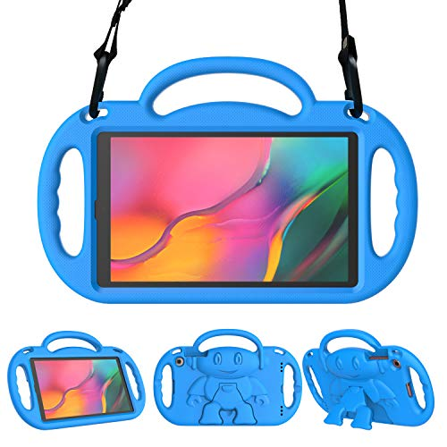 LEDNICEKER Kids Case for Samsung Galaxy Tab A 10.1 (2019) SM-T510/T515 with Shoulder Strap - Shockproof Handle Friendly Convertible Stand Kids Case for Galaxy Tab A 10.1 Inch 2019 - Blue