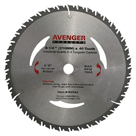 Avenger Av 82540 Smooth Cutting Saw Blade 8 14 Inch By 40 Tooth 5