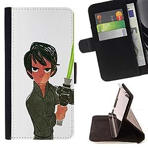 BullDog Case - FOR/Sony Xperia Z1 L39 / - / LIGHT WHITE SABER HAN MOVIE SCI FI SPACE /- Monedero de cuero de la PU Llevar cubierta de la caja con el ID Credit Card Slots Flip funda de cuer