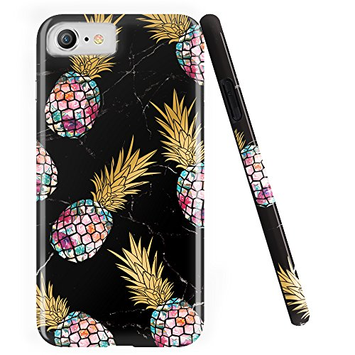 DOUJIAZ iPhone 7 Case,iPhone 8 Case, Shiny Marble Design Clear Bumper TPU Soft Case Rubber Silicone Skin Cover for iPhone 7(2016)/iPhone 8(2017)- Purple Pineapple & Black