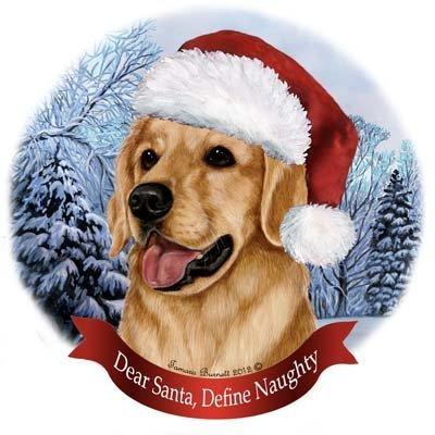 Pet Gifts USA Dog in Santa Hat Porcelain Hanging Howliday Ornament (Golden Retriever)