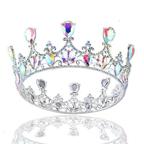 - Stuffwholesale Silver Wedding Crown Shining Crystal AB Pageant Princess Tiara Bridal Headwear (Silver)