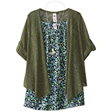 Beautees Big Girls' Chiffon Tunic with Flyaway Cardigan
