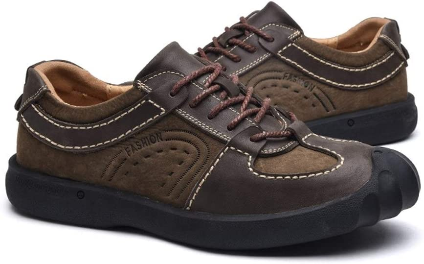 SHENLIJUAN Casual Athletic Shoes for Men Genuine Leather Outdoor Activities Hiking Climbing Anti-Slip Flat Lace Up Collision Avoidance Round Toe Coffee