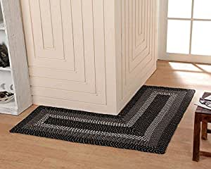 Better Trends Pan Overseas Country Braid Stripe L Shape Rug 24 X 68 X 68 Black