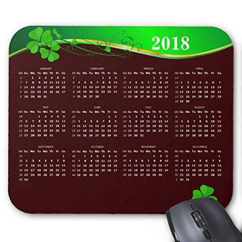 UOOPOO Lucky Shamrock Calendar 2018 on Mocha brown Mouse Pad Rectangle Non-Slip Rubber Personalized Mousepad Gaming Mouse Pads 9.8 x 11.8 x 0.12 Inch(Pattern: Print)