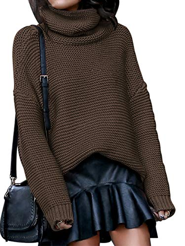 Chatinction Womens Casual Turtleneck Chunky Loose Solid Color Crewneck Baggy Long Pullover Sweater Brown Medium.