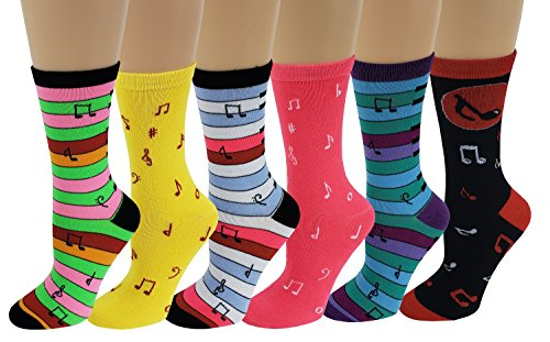 Sumona 6 Pairs Women Colorful Fancy Design Soft & Stretchy Novelty Crew Socks (Music Notes Piano)