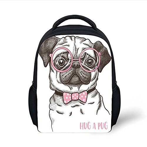 iPrint Kids School Backpack Pug,Cute Pug Pink Bow Tie Oversized Glasses Hand Drawn Domesticated Decorative,Baby Pink White Dark Brown Plain Bookbag Travel Daypack ()