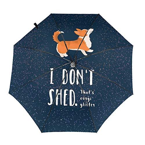 Enjeolon Automatic Open Close Windproof Compact Anti-UV Travel Umbrella Corgi Glitter I Don't Shed Lightweight Parasol Umbrellas Sun & Rain