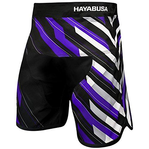 Hayabusa Metaru Charged Brazilian Jiu Jitsu and MMA Shorts (Black/Purple, 36)