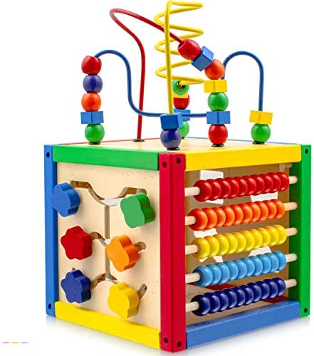 Play22 Activity Cube with Bead Maze – 5 in 1 Baby Activity Cube Includes Shape Sorter, Abacus Counting Beads, Counting Numbers, Sliding Shapes, Removable Bead Maze – My First Baby Toys – Original