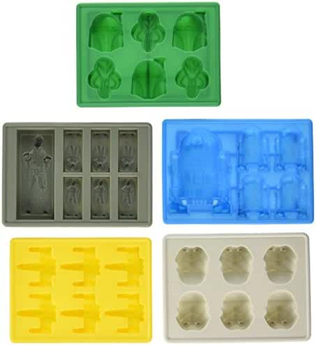Set of 5 Star Wars Silicone Ice Trays / Chocolate Molds: X-Wing Fighter, Boba Fett, R2-D2, Han Solo in Carbonite, and Stormtrooper
