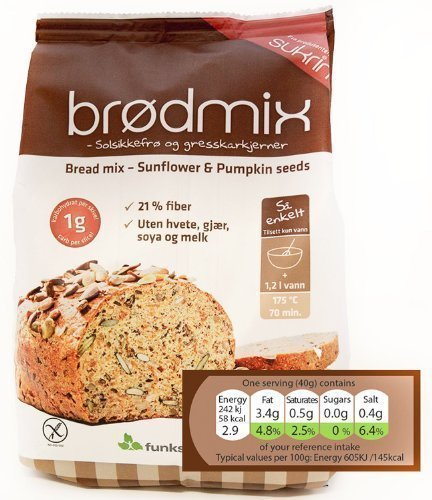 Sukrin Sunflower and Pumpkin Seed Low Carb Free-From Bread Mix. Low Fat, Low Calorie, Dairy, Yeast, Soya, Sugar, Wheat and Gluten Free, Great Taste! (1kg) (Low Carb Gluten Free Bread compare prices)