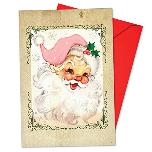 Vintage Style Christmas Card - B6695CXSG Box Set of 12 Pink Kringle Christmas Note Card Featuring a Retro Vintage Style Portrait of Santa with Pink Accessories; with Envelopes
