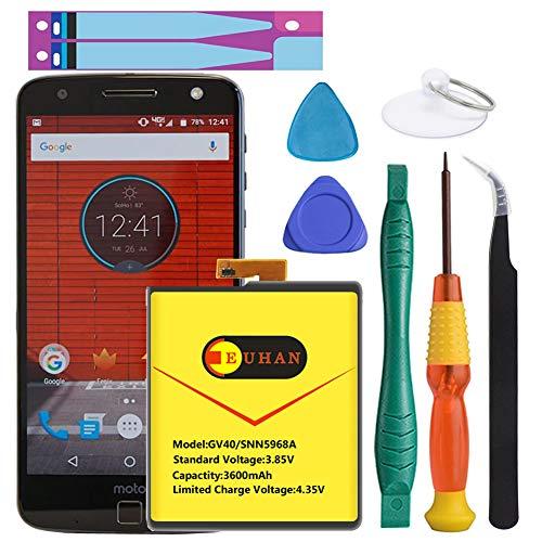 Motorola GV40 Battery, Euhan 3600mAh Replacement Battery for Motorola Moto Z Droid Force XT1650-2 +Repair Replacement Kit Tools [1 Year Warranty]