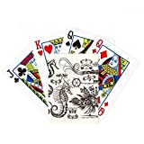 Black Hippocampus Marine Life Illustration Poker Playing Card Tabletop Board Game Gift