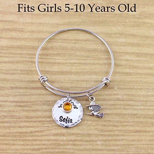 Personalized Little Girls Witch Bracelet - Witch Bangle Bracelet with Name & Birthstone - Fits Girls 5-10 Years Old - Silver Adjustable Charm Bangle - Halloween Jewelry - Wiccan Jewelry -