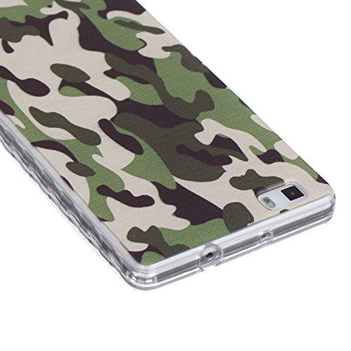 [Extremadamente Delgada] Funda 3D Silicona Transparent para Huawei P8 Lite ,Funda TPU Ultra Slim para Huawei P8 Lite , TOCASO Case Fina Slim Fit Cristal Clear, Transparent Slicona Clear Cover Glitteri Camuflaje
