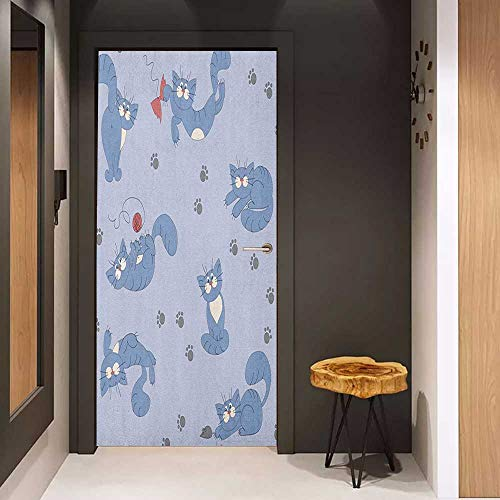 - Onefzc Wood Door Sticker Boys Playful Cat in Funny Poses with Bowtie Ball of Yarn and a Mouse Grey Paw Prints Easy-to-Clean, Durable W38.5 x H79 Blue Purple Grey