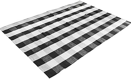 Levinis Cotton Washable Area Rugs Black and White Buffalo Checkered Rug Large Hand-Woven Lattice Plaid Floor Rugs Carpet for Living Room Bedroom, 5.6 x 7.5 Feet