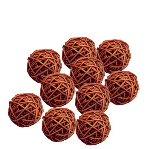 JiaUfmi 10 Pieces/Set Rattan Wicker Ball Decoration Ornaments Wedding Christmas Party Table Desk Garden Hanging ()