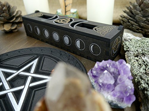 Incense holder // incense burner // triple moon // triquetra // pentacle // moon phases // handmade // hand painted // wiccan incense stick