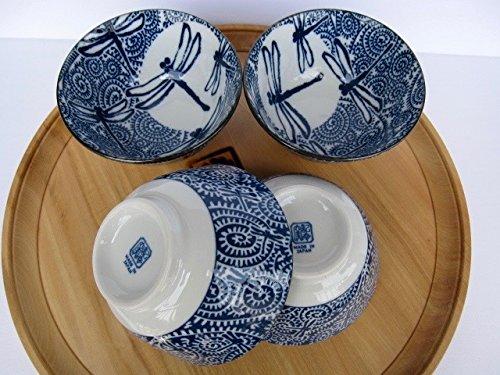 Japanese rice bowl donburi Mino ware tako karakusa with dragonfly set of 4