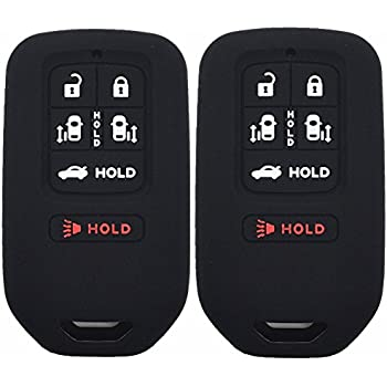 Pack of 2 Black Black Remote Key Silicone Fob Cover Case Protector Skin Fits 2014 2015 2016 2017 Honda Odyssey EXL 6Button