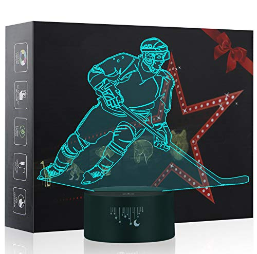 Hockey Lights, 3D Night Light, LED Lamps for Kids, Ball Toys for Boys, 7 Colors Touch Table Desk Lighting, Baby Bedroom Sleep Lamp, Birthday Party Holiday Gifts for Children ()