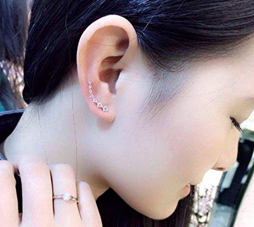 Gold 1Pair Fashion Charming Women CZ Crystal Ear Sweep Cuff Earrings Hook Jewelry