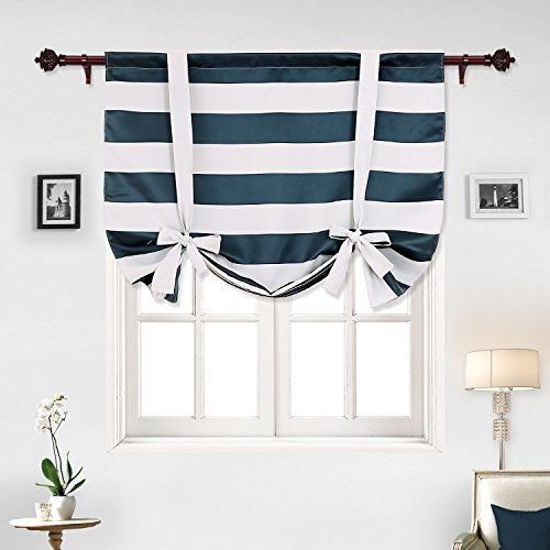 navy blue striped blackout curtains rod pocket nautical and greyish white tie up ebay. Black Bedroom Furniture Sets. Home Design Ideas