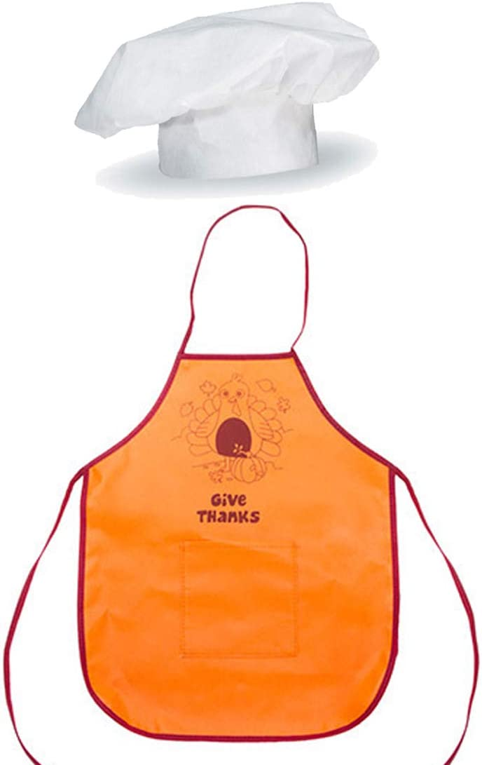 /& Holiday Baking LightShine Products Kids Thanksgiving Turkey Apron and Chef Hat Bundle for Holiday Cooking Cookie Decorating