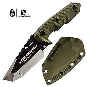 HX OUTDOORS D-170 - Cuchillo de cuchilla fija con vaina