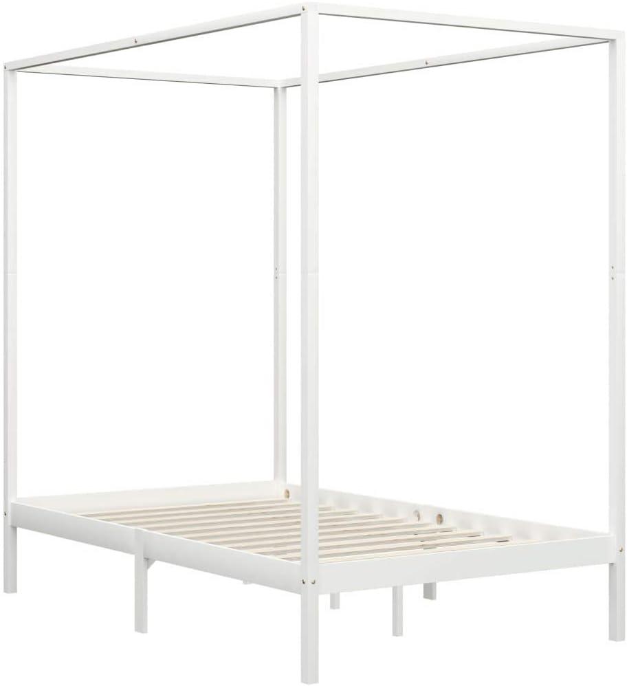 pedkit Estructura de Cama con Dosel Cama de Matrimonio Somier Marco de la Cama Madera Maciza Pino Muebles de Dormitorio Habitación Blanco 140x200 cm