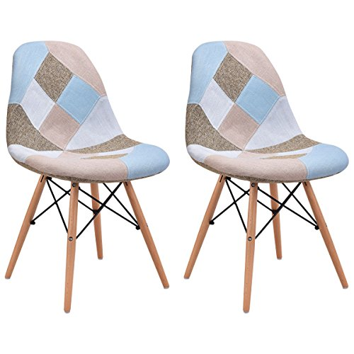 Giantex Linen Fabric Accent Dining Chairs Set of 2 Modern DSW Style Upholstered Leisure Chair Mid Century Chairs Armless Living Room Chair, 2 ()