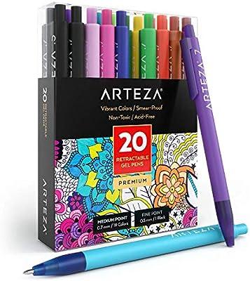 Arteza Bolígrafos de colores de tinta de gel | Juego de 20 colores surtidos | Bolígrafos de gel de punta retráctil fina de 0.7 mm: Amazon.es: Oficina y papelería