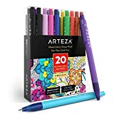 ARTEZA Retractable Gel Ink Pens, Set of 20 Assorted Colors, Fine Tip 0.7 mm, Perfect for Writing in a Notebook, Journal, Planner, Legal Pad, on Invitation Cards, and More!