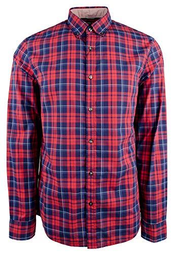 Michael Kors Men's Slim Fit Plaid Cotton Long Sleeve Shirt-F-S (Kors Mens Shirts Micheal)