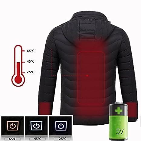 Eléctrica calefactables Chaqueta Abrigo Chaqueta De Plumón Invierno calientes ropa, funcionamiento mediante móvil cargador,