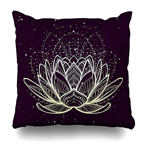 (DIYCow Throw Pillows Covers Lotus Flower Intricate Linear Drawing Starry Nignt Sky Hindu Yoga Spiritual Tattoo Home Decor Pillowcase Square Size 16 x 16 Inches Cushion Case)