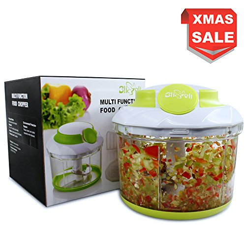 Food Chopper 34 OZ 4 Cups BliGli kitchen Manual Vegetable Chopper Mincer Mixer Blender for Chopping Fruits, Vegetables, Nuts, Herbs, Mini Food Processor with 1 Sealing Storage Lid and 2 Blender Parts