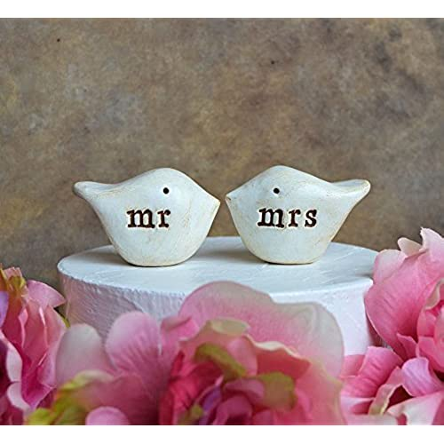 Bird wedding decor amazon wedding cake topper mr and mrs love birds for your cake top decor handmade and perfect for rustic weddings junglespirit Images