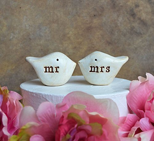 Wedding cake topper.. mr and mrs love birds for your cake top decor... Handmade and perfect for rustic weddings