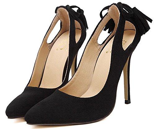 Easemax Donna Elegante Stiletto Scarpe A Punta Scamosciata Nappa Slip On Tacco Alto Pompe Scarpe Nere