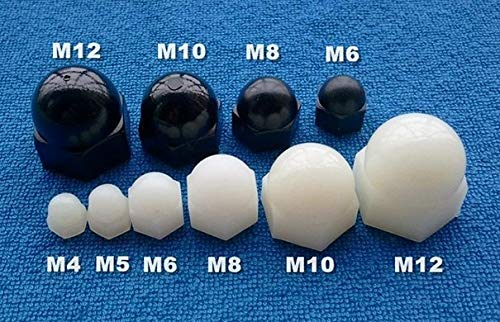 Nuts M3 M4 M5 M6 M8 M10 m12 Domed Nylon Nuts White Plastic Acorn Nuts Thread arced Protect LED Light Branch Protecting end DIN 1587 - (Color: M10 200 PCS)