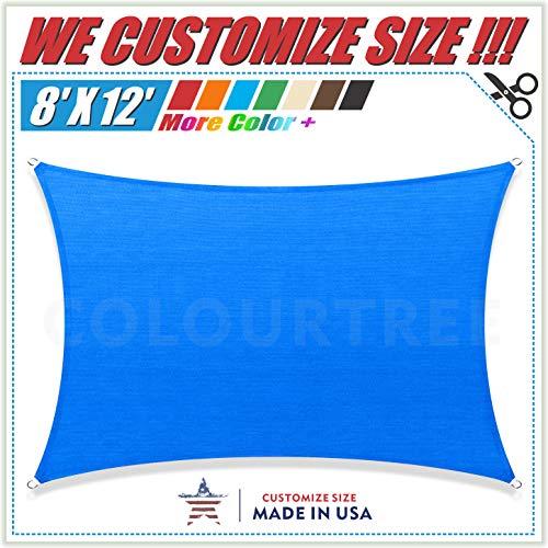 ColourTree 8 x 12 Blue Rectangle Sun Shade Sail Canopy UV Resistant Heavy Duty Commercial Grade -We Make Custom Size