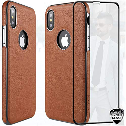 DICHEER iPhone X XS Case with Glass Screen Protector,Luxury Matte Brown Leather Case for Men,Dual Layer Defender Soft Silicon TPU Bumper Best Protective Cover Classy Phone Case for iPhone X iPhone Xs