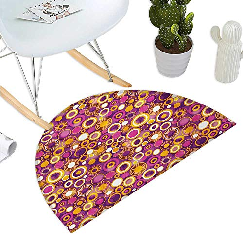 Geometric Semicircular Cushion Retro Style 70s Like Vintage Circles and Rounds Water Drops Like Image Artwork Entry Door Mat H 19.7